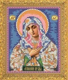 """Рисунок на ткани для вышивания бисером Бис 336 """"Прсв.Богородица Умиление"""""""