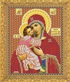 """Рисунок на ткани для вышивания бисером Бис 384 """"Прсв. Богородица Владимирская"""""""