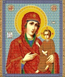 """Рисунок на ткани для вышивания бисером Бис 347 """"Прсв.Богородица Тихвинская"""""""