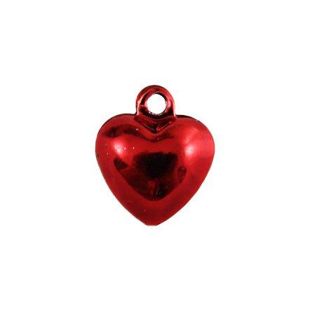 Бубенчики-сердце 1см (глянц., красные)