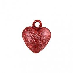Бубенчики-сердце 1 см (матов., красные)