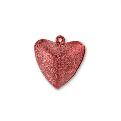 Бубенчики-сердце 1,5см (матов., красные)