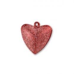 Бубенчики-сердце 2см (матов., красные)