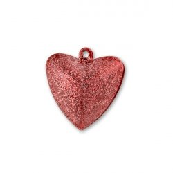 Бубенчики-сердце 3,2 см (матов., красные)