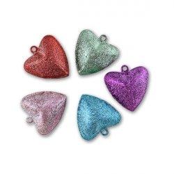 Бубенчики-сердце 2 см (матов., MIX)