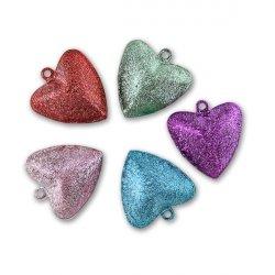 Бубенчики-сердце 2,5см (матов., MIX)