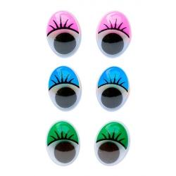 Глазки овальные с ресницами 10х13 мм 1/500 шт