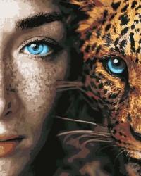 Рисование по номерам (на холсте) 40х50 0080CM Девушка и леопард
