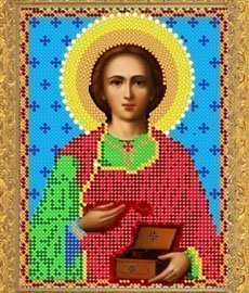 """Рисунок на ткани для вышивания бисером 303М """"Св.Великомученик Пантелеймон"""""""