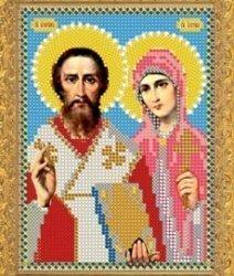 """Рисунок на ткани для вышивания бисером 344М """"Св.Куприян и Устиния"""""""