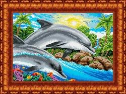 Канва для бисера КБ-2003 Дельфины