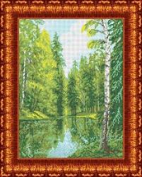 Канва для бисера КБП-3023 Озеро в лесу