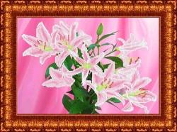 Канва для бисера КБЦ-3018 Розовые лилии