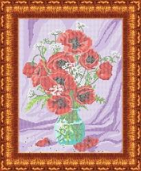 Канва для бисера КБЦ-3019 Маки в вазе