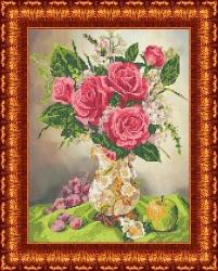 Канва для бисера КБЦ-3021 Розы в вазе