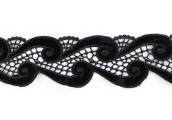 Кружево плетеное с бархатными вставками X5088, 1/4 ярд.
