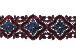 Кружево плетеное с бархатными вставками Z0078, 1/4 ярд.