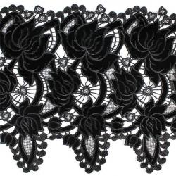 Кружево плетёное с бархатными вставками X4170 1/2,5 ярд
