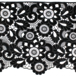 Кружево плетёное с бархатными вставками X5855 1/2,5 ярд