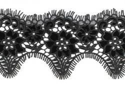 Кружево плетеное с бархатными вставками Z0201, 1/3 ярд
