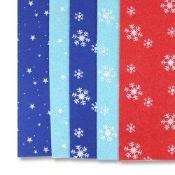 Фетр для рукоделия 20х30см снежинки и звёзды
