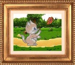"""Набор для вышивания бисером СВБ-542 """"Котик на природе"""""""