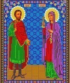 Рисунок на ткани для вышивания бисером Бис 447 «Св. Адриан и Наталия»