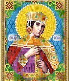 """Рисунок на ткани для вышивания бисером 742М """"Св. Августа"""""""